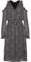 MICHAEL Michael Kors Cold-shoulder Printed Chiffon Midi Dress - Black