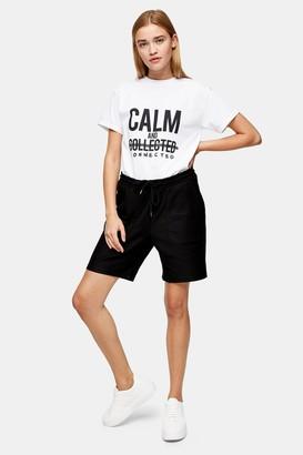 Topman Womens Black Twill Jersey Shorts - Black