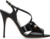 LK Bennett Erica asymmetric patent leather sandals