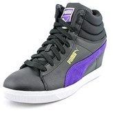 Puma Classic Wedge Sl Jr Women Round Toe Leather Black Sneakers.