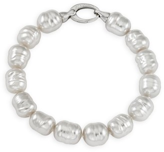 Majorica 18K White Goldplated & 10MM Organic Man-Made Baroque Pearl Bracelet