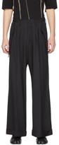 Sulvam Black Wool Wide Flap Trousers