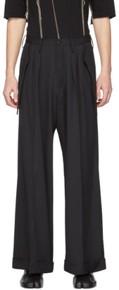 Sulvam Black Wool Wide Flap Trousers