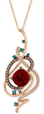 "LeVian Le Vian Exotics Crazy Collection Pomegranate Garnet (4-1/2 ct. t.w.) & Diamond (3/4 ct. t.w.) 18"" Pendant Necklace in 14k Rose Gold"