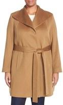 Fleurette Plus Size Women's Wing Collar Cashmere Wrap Coat