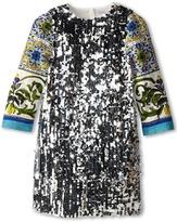 Dolce & Gabbana Graphic Print Sequin Shift Dress (Big Kids)