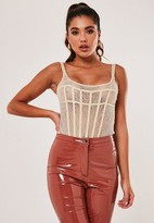 Missguided Nude Lace Corset Detail Strappy Bodysuit