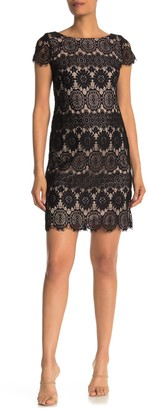 Eliza J Scalloped Lace Cap Sleeve Dress
