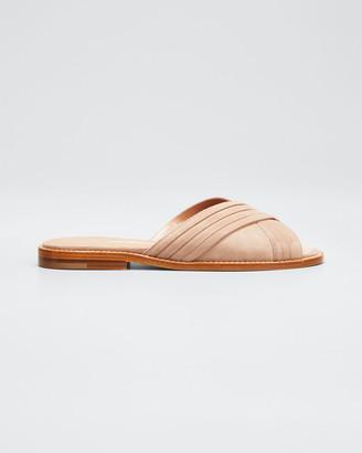 Manolo Blahnik Pingar Suede Crisscross Slide Sandals