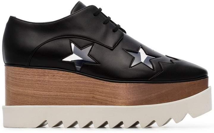 Stella McCartney black Elyse 80 faux leather star embellished flatform brogues