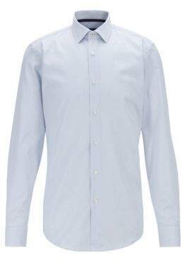Slim-fit shirt in dobby cotton with inner contrasts