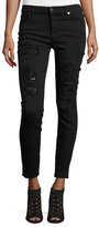 7 For All Mankind The Ankle Skinny Destroyed Jeans w/Sequins, Black Cut Out