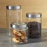Crate & Barrel Glass Storage Canisters with Stainless Steel Lids