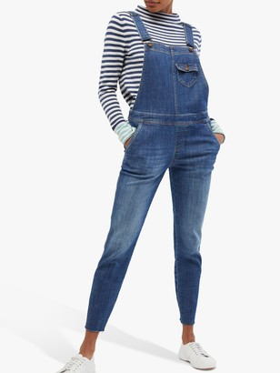 White Stuff Slim Denim Dungarees, Light Denim