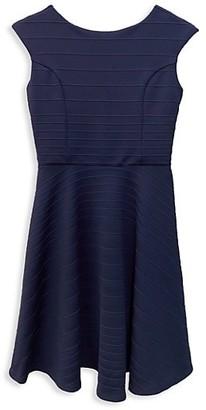 Un Deux Trois Girl's Raised Stripe Cap-Sleeve Dress