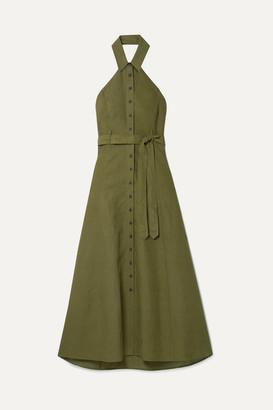 Mara Hoffman + Net Sustain Rosemary Tencel And Linen-blend Halterneck Maxi Dress - Army green