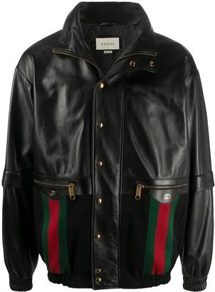 Gucci Web leather bomber jacket