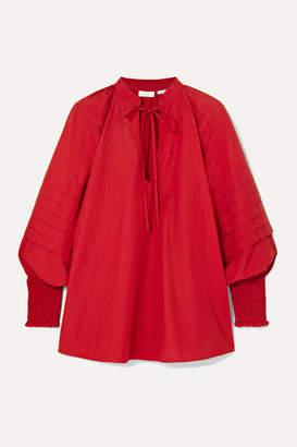 Rhode Resort Sage Tie-neck Cotton-poplin Blouse - Red