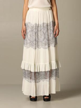 Twin-Set Long Lace Skirt With Ruffles