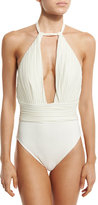 Gottex Pearl Goddess Halter One-Piece Swimsuit