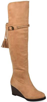 Journee Collection Womens Jezebel Extra Wide Calf Wedge Heel Over the Knee Boots