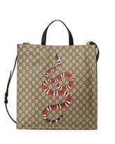 Gucci Snake GG Supreme Soft Tote Bag, Beige/Ebony