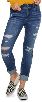 Juniors' Indigo Rein Mid-Rise Recycled Roll Cuff Skinny Jeans