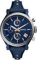 Fossil Women's Chronograph Original Boyfriend Blue Leather Saddle Strap Watch 38mm ES4113