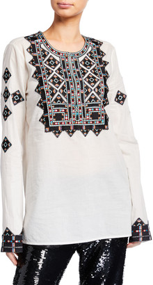 Figue Iris Geometric-Embroidered Tunic