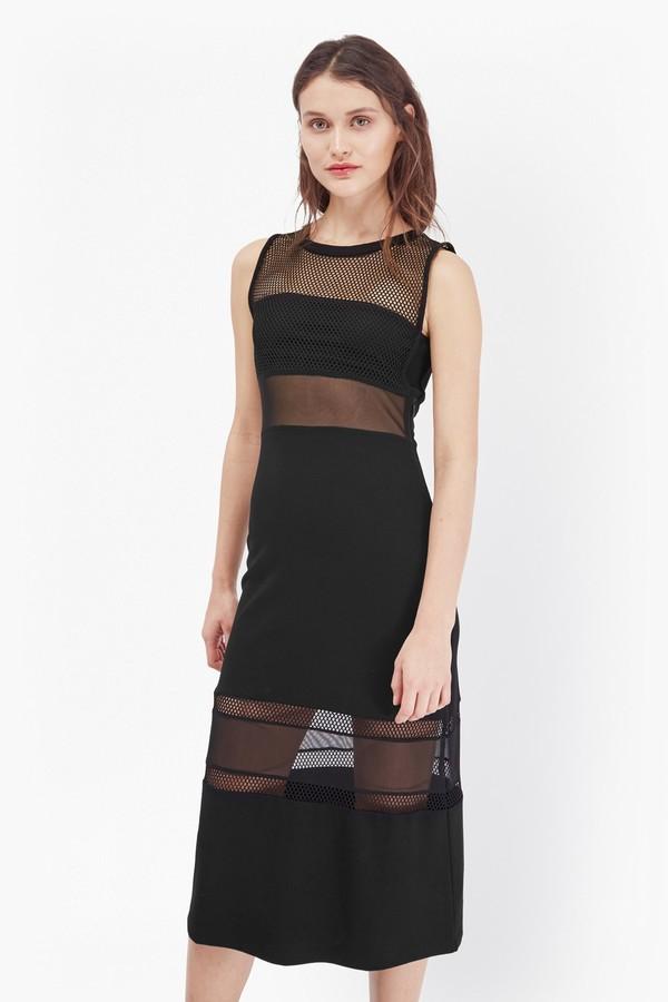 French Connection Manhattan Mesh Panelled Midi Dress