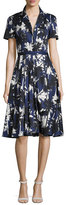 Jason Wu Short-Sleeve Palm-Print Shirtdress, Blue Pattern