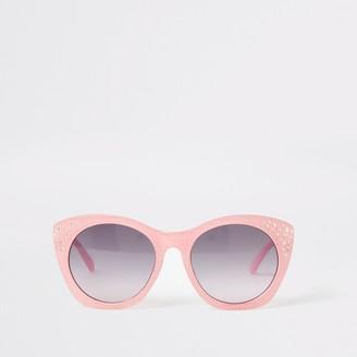 River Island Girls Pink RI embellished glam sunglasses