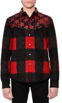 Valentino Buffalo Check Shirt w/Camo-Star Leather Yoke, Black/Red