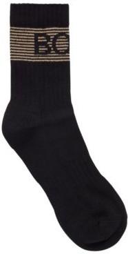 HUGO BOSS Quarter Length Socks With Metallic Striped Logo - Black