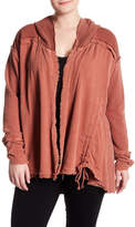 Bobeau Mixed Media Ruched Sleeve Hooded Cardigan (Plus Size)
