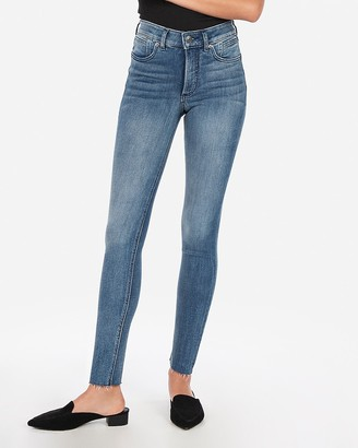 Express High Waisted Denim Perfect Lift Raw Hem Ankle Skinny Jeans