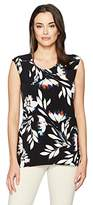 Chaus Women's Cap Sleeve Floral Vision Top