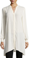 Neiman Marcus Long-Sleeve Tunic Blouse, Grain
