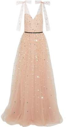 Monique Lhuillier Bow-embellished Sequined Tulle Gown