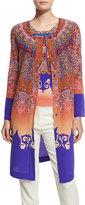 Etro Marrakech-Print Silk Coat, Orange/Purple