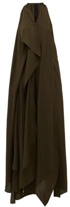 Petar Petrov Aliya Asymmetric Draped Silk Crepe De Chine Dress - Dark Olive
