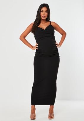 Missguided Black Wrap Cami Cowl Maternity Maxi Dress