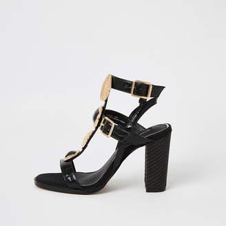 River Island Black embellish gladiator block heel sandals