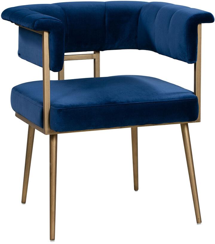 Tov Furniture Astrid Navy Velvet Chair