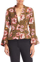 XOXO Floral Ruffle Sleeve Blazer