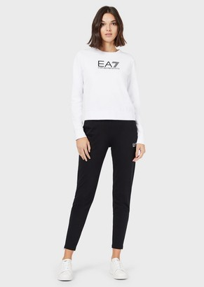 Ea7 Two-Tone Tracksuit With Round Neck Sweatshirt