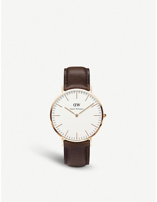 Daniel Wellington Women's White 0109Dw Bristol Rose Gold-Plated And Leather Watch