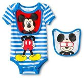 Disney Mickey Mouse Newborn Bodysuit & 2 Bibs - Blue