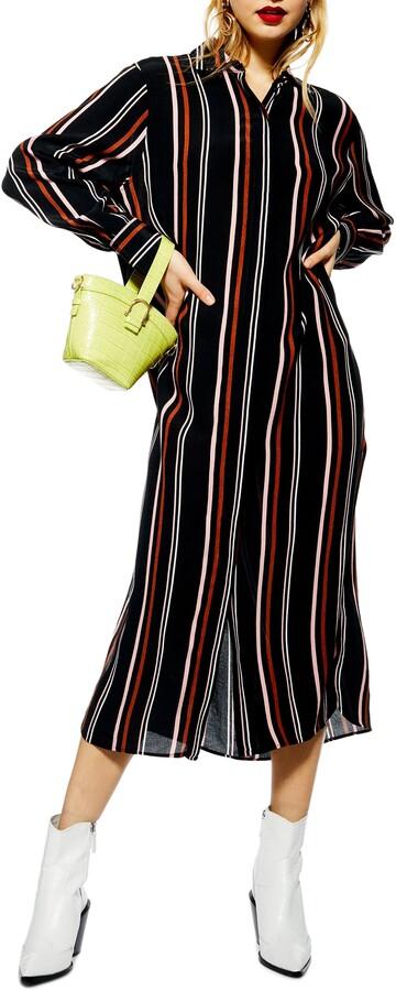 Topshop Stripe Maxi Shirtdress
