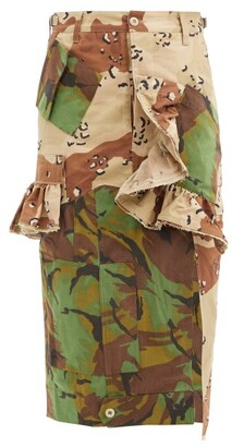 Preen by Thornton Bregazzi Floral Upcycled Camouflage Cotton-blend Midi Skirt - Camouflage